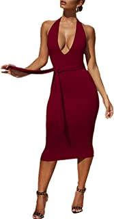Women's Dress Sexy deep V-Neck Hanging Neck Dew Backpack Hip Dress Long Section