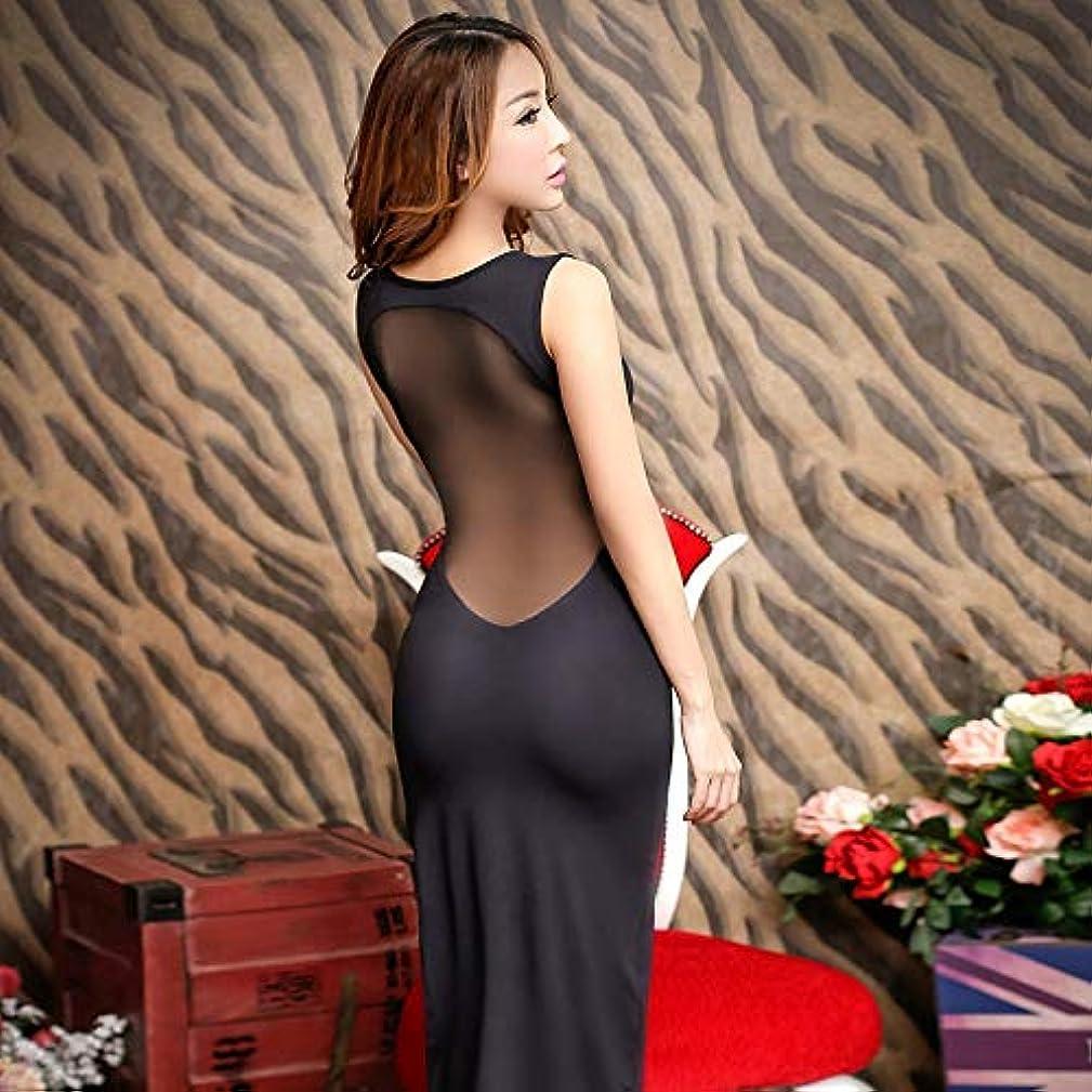 敬論争的素人OWNFSKNL 女性用セクシーランジェリー、黒透明ドレス