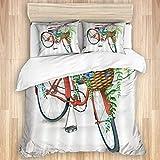 Funda nórdica de 3 Piezas, Bicicleta y Flores Rojas Vintage, Juego de Ropa de Cama de Calidad con 1 Funda y 2 Fundas de Almohada Estilo