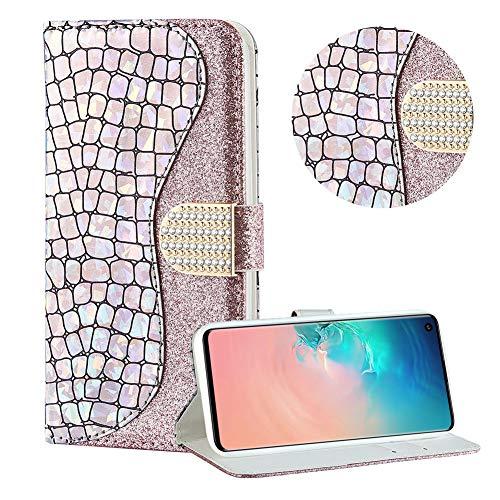 Diamant Brieftasche Hülle für Galaxy S10 Plus,Silber Wallet Handyhülle für Galaxy S10 Plus,Moiky Ultra Dünn Stilvoll Laser Glitzer Farbe Block Klappbar Stand Silikon Handytasche
