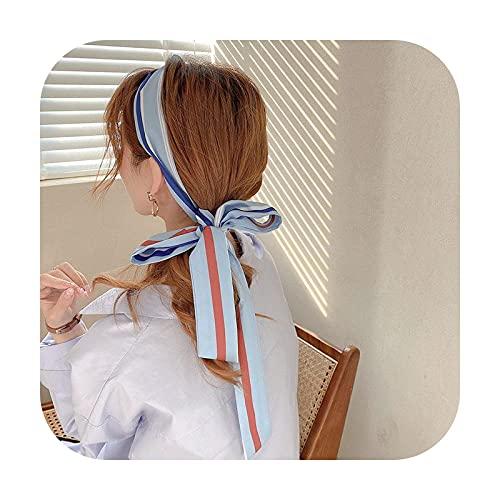 Ribbons Bufanda de tela francesa Banda para el pelo Retro Rayas Houndstooth Atado Cola de caballo Cinta Ins temperamento Coreano Moda Accesorios para el cabello-amarillo limón