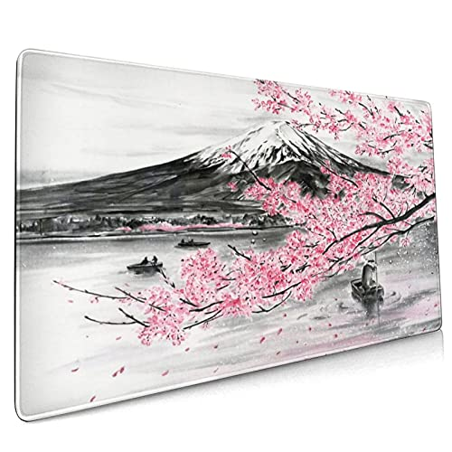 Japanese Pink Sakura Extended Mouse Pad 35.4x15.7 Inch XXL Mountain Lake Cherry Blossom Non-Slip Rubber Base Large Gaming Mousepad Stitched Edges Waterproof Keyboard Mouse Desk Pad for Office Home