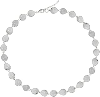 Sivalya SPLENDOR 13.05Ctw Moonstone Station Necklace in 925 Sterling Silver - Gorgeous Pear Cut White Multi Gemstone Necklace - Natural Teardrop Moonstone Stones - Jewelry Gifts for Her