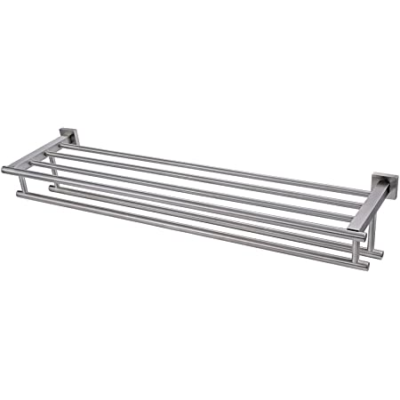 Premium Modern Double Hanging Quadruple Towel Bar Rack W Square Base 24 Inches Brushed Finish Stainless Steel Water And Rust Proof Top Of The Line Rack And Shelf Amazon Com