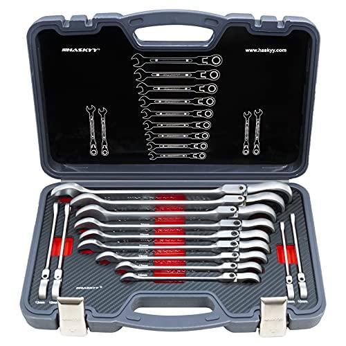 Gelenk Ratschenschlüssel Set Ring Maul Schlüssel Satz 8-32mm Werkzeug 13 tlg
