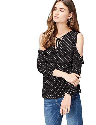 find. Bluse Damen Polka-Dot und Cold Shoulder Schwarz (Black), 38 (Herstellergröße: Medium)
