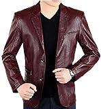 brandMe Men's Leather Blazer Genuine Soft Lambskin Leather Coat Jacket BB24 (Large) Burgundy