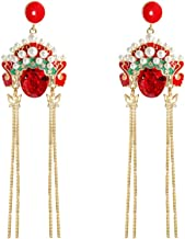 Toyvian 1 Pair Ear Jewelry Peking Opera Dangle Earrings for Ladies Women