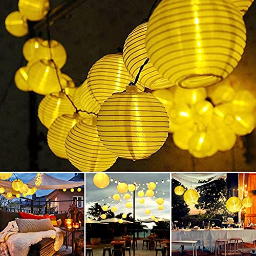 Dailyart Solar Lichterkette Auße 6.5M 30er LED IP65 Wasserdicht Solar Lichterkette Aussen Solar Lichterkette Lampion Außen Beleuchtung für Garten, Hochzeit, Fest Deko (Warmweiß) [Energieklasse A+++]