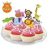 XCOZU 35 piezas de decoración de magdalenas de animales de la selva, decoración de pastel de animales del zoológico para niños, cumpleaños, fiesta de bebé, decoración de tartas