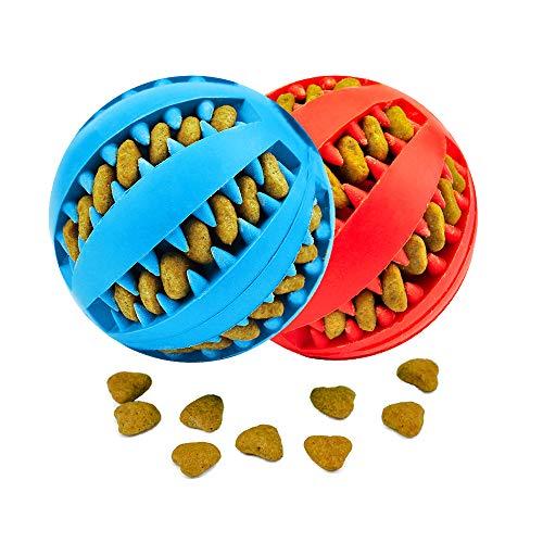 KLAS REMO Giocattolo Palla per Cane, Gioco Palla Rimbalzante Cane, Giocattolo Resistente Palla per Cani, Palla per Pulito dei Denti di Cane Pulizia Denti Cane - 7cm di Diametro, 2 Pack Rosso e Blu