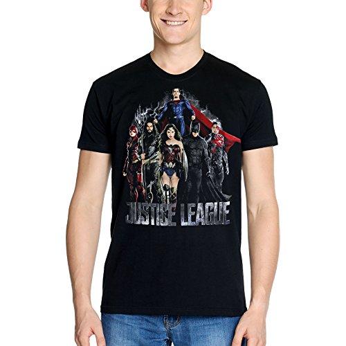 Liga de la Justicia para Hombre de la Camiseta de algodón Negro Película Collage DC Comics Elbenwald - XXL