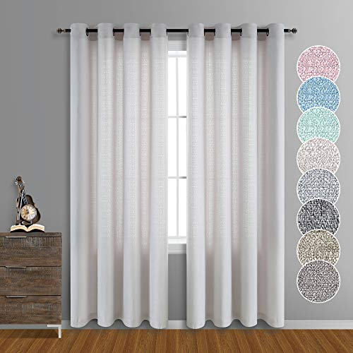 Taupe Curtains 84 Inches Long for Living Room Rustic Farmhouse Drapes Grommet Top Burlap Look Faux Linen Cotton Country Style Semi Sheer Curtains for Bedroom Set of 2