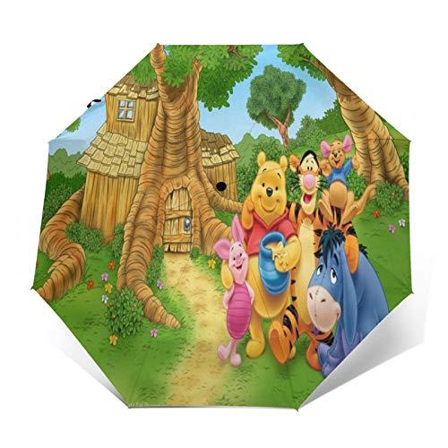 Compact Auto Open/Close Trifold Travel Anti-Uv Umbrella, Windproof Folding Lightweight Reverse Portable Outdoor Parasol Umbrella Rain&Sun, Disney Winnie Pooh Eeyore Log Cabin