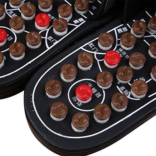 Ginsenget Zapatillas sin Cordones Antideslizantes,Zapatillas Masaje giratorias Piedra Jade,Suelas acupuntura,Sandalias Verano Hombres...