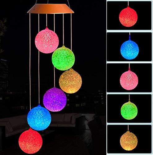 Bola de cristal solar LED carillones de viento para colgar al aire libre impermeable móvil romántico con energía solar que cambia de color carillones de viento luz