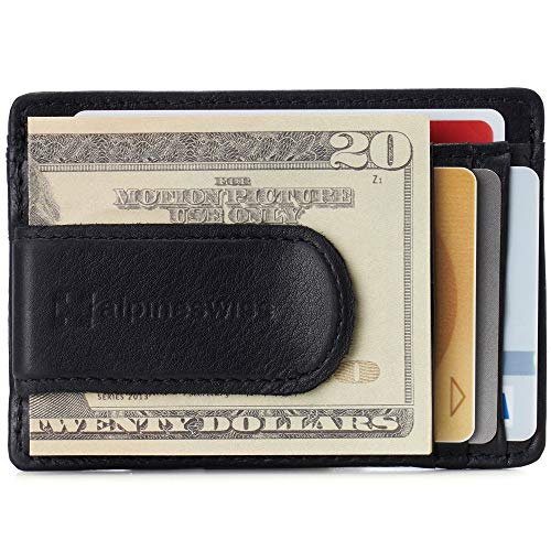 Alpine Swiss RFID Dermot Money Clip Front Pocket Wallet For Men Leather Comes in a Gift Box Black