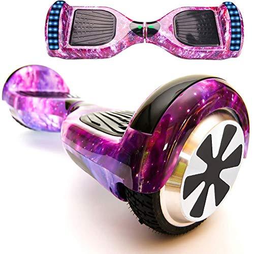 """Magic Vida Hoverboard - 6.5"""" - Bluetooth - Motor 700 W - Velocidad 15 km/h - LED - Patinete Eléctrico Auto-Equilibrio - Para niños y adultos - Púrpura Galaxy"""