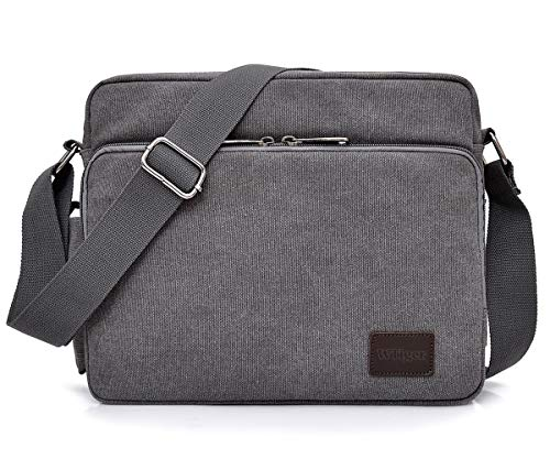 Messenger Bag Vintage Canvas Shoulder Bag Cross Body Bag 26 Pockets for Men...