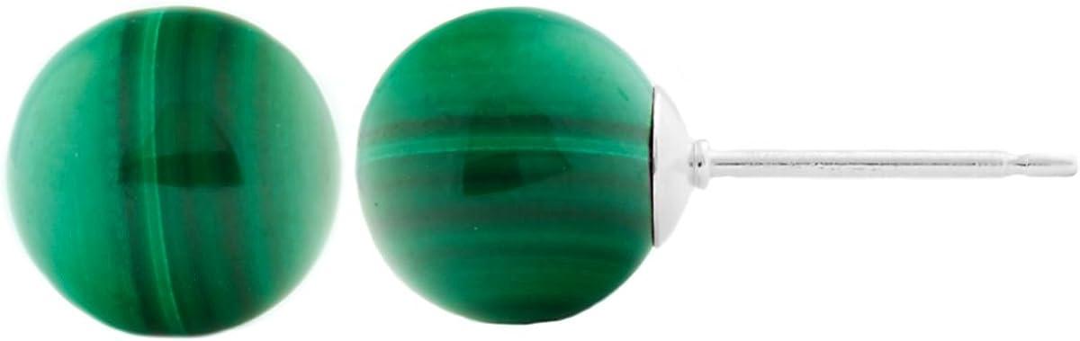 Trustmark 14k White Gold 8mm Natural Green Malachite Ball Stud Earrings