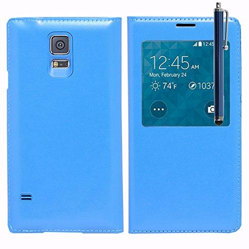 ANNART - Funda con tapa para Samsung Galaxy S5 Mini G800F G800H y Duos (incluye lápiz capacitivo), color azul
