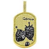 USDIAMONDKING Black Tone Canary Baguette/Round Simulated Diamond Zodiac Sign Astrology Horoscope Custom Dog Tag Pendant Charm (Gemini)