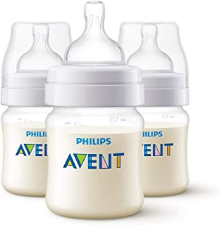 Philips Avent Classic+ Anti-Colic Baby Bottle with Newborn Flow Teat for 0 Months Plus Babies, BPA-Free, 125ml, 3-Pack, SCF560/37