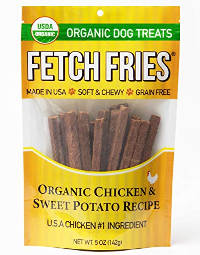 Fetch Fries Organic Chicken and Sweet Potato Jerky Dog Treats, Made in USA,...