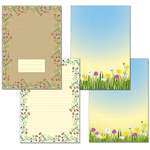 2 unidades – Bloc de escritura 1 x prado primaveral 1 x magia flores vintage cada 24 hojas formato DIN A4 con portada 7450 + 7550