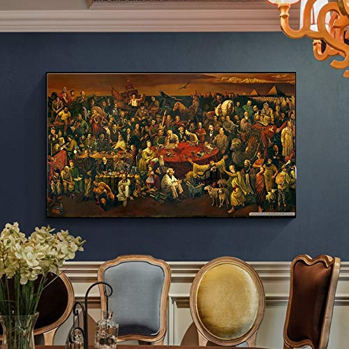 KWzEQ Reproduktionen weltberühmter Gemälde auf Leinwand diskutieren die Plakatkunst der Komödie an der Wand,Rahmenlose Malerei,50x90cm