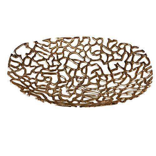 Home Collection Deko Schale Gold Aluminium, dekorative Schüssel, Moderne Tischdeko, Dekoschale 51 x 39 x 7 cm