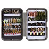 Bassdash Trout Lures Steelhead Salmon Fishing Flies Assortment 57/58pcs Include Dry Wet Flies