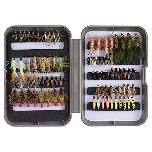Bassdash Fly Fishing Flies Kit Fly Assortment Trout Fishing with Fly Box, 36/64/72/80/96pcs with Dry/Wet Flies, Nymphs, Streamers, Popper (76 pcs Assorted Flies kit with Fly Box)