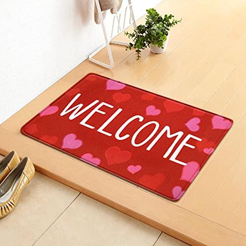 Rojo Felpudo Forma De Corazón Bienvenida Estilo Simple Felpudo Antideslizante de Respaldo de Goma Antideslizante Lavable a Máquina Uso para Puerta Trasera Delantera Entrada Pasillo 60x90 cm Adulto