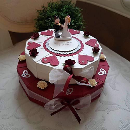Schachteltorte Torte BORDEAUX-CREME 2stöckig Geldgeschenk Gastgeschenke Hochzeit
