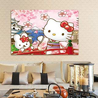 DIY 5D Diamond Painting by Number Kit,Hello Kitty Crystal Rhinestone Crystal Embroidery Cross Stitch Arts Craft Canvas Wall Decor 19.7X15.7IN(Full Drill)