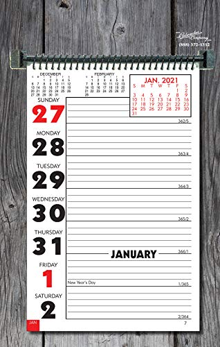"""CALENDAR COMPANY 2021 Weekly Planning Wall or Desk Calendar with Memo Space and Almanac info 11"""" x 7"""" Made in The USA"""