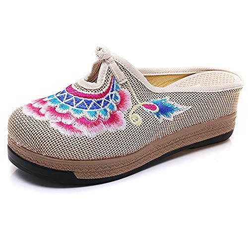 LYNLYN Chaussures brodées pour Femmes Femmes à la Main Linge de Lin Coton Fermer Orteil muletier Pantoufles Fleur brodé bohème été...