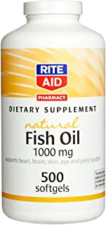 Rite Aid Fish Oil Dietary Supplement, 1000 mg - 500 Count   Omega 3 Supplement