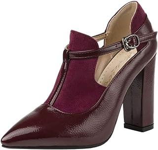 Melady Women Fashion Block Heels Pumps Pointed Toe T Strap