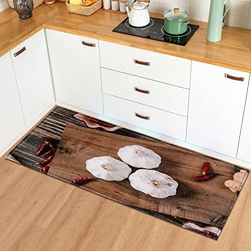 OPLJ Felpudo de Entrada Alfombra de Cocina para el hogar Dormitorio Balcón Decoración Alfombra de Piso Estampado de condimentos Alfombra Antideslizante A14 40x120cm