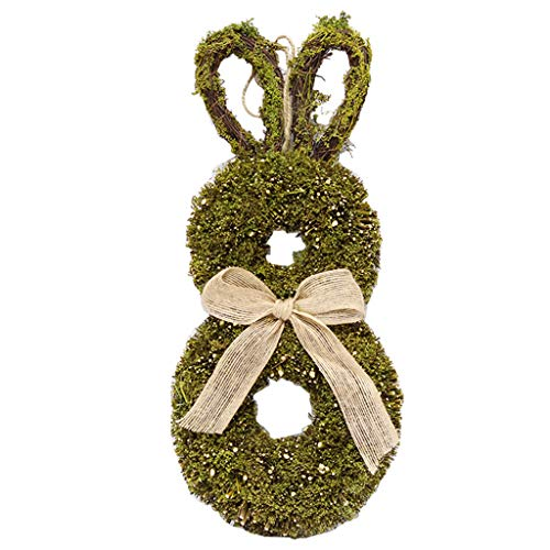 KunmniZ Easter Bunny Wreath with Burlap Bow Rattan Twig Garland Wall Hanging Pendant