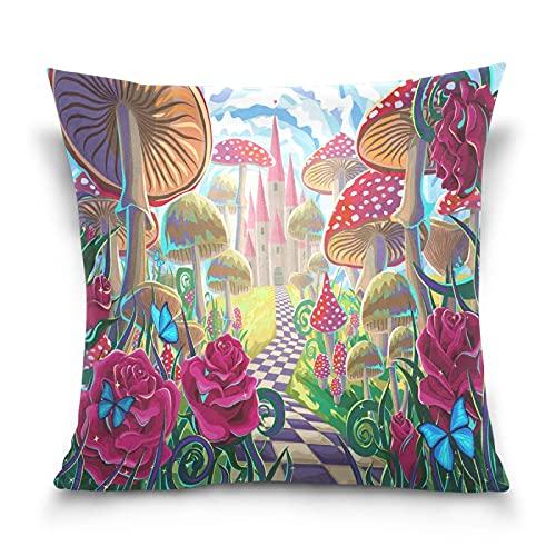 Cuadrado decorativo fundas de almohada Castillo de setas Rosas rojas y mariposas Cremallera Suave Funda Cojin Funda de almohada para sofá de cama de 45x45 CM para el hogar