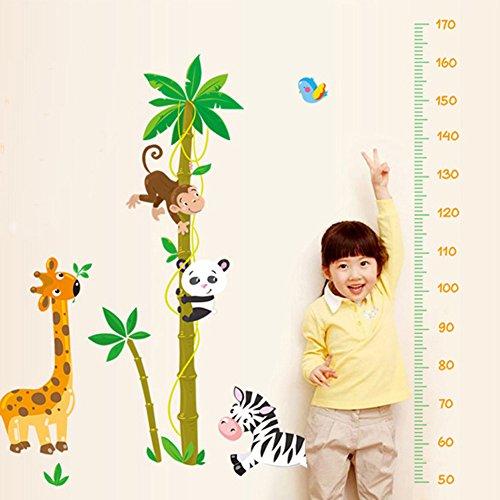 Wallpark Mignon Girafe Panda Singe Escalade Coconut Arbre Croissance Hauteur Toise Amovible Stickers Muraux Autocollants, Enfants Bébé Chambre Pépinière DIY Décoratif Adhésif Stickers Mural