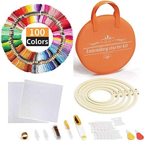 100 Color Threads Full Range of Embroidery Starter Kit with Bag, Houson 5 PCS Bamboo Embroidery Hoops,2 PCS 11.8 inches Aida Cloth,and Cross Stitch Tool Embroidery Needle Point Kit Beginners Supplies
