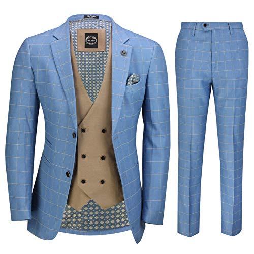 Xposed Herren 3 Stück Sky Blau Windowpane Karierte Anzug mit Retro Zweireihige Weste Maßgeschneidert[SUIT-GABIN-SKY-Blau-48]