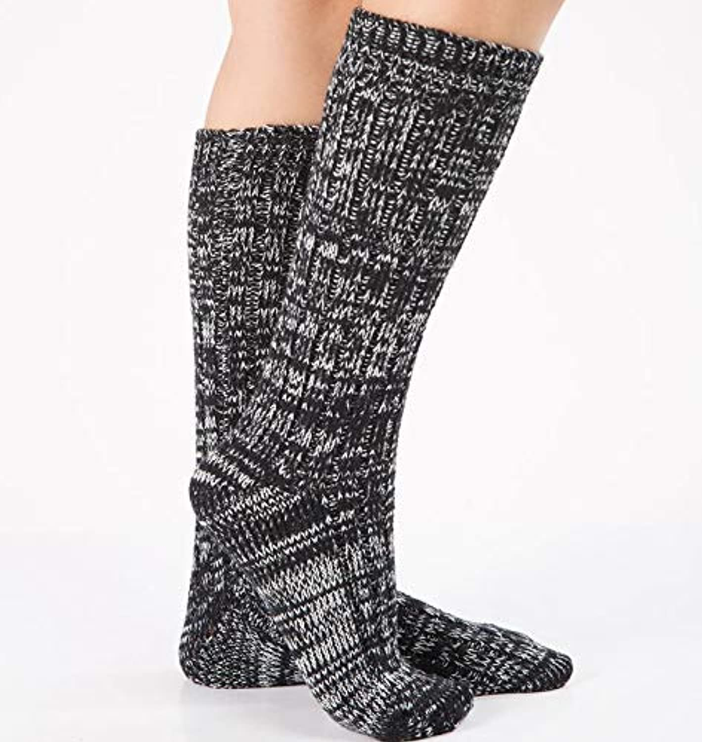 Comfortable Arm Warmer Leg Stocking Christmas Thick Wool Floor Socks Home Socks Knit Warm Mixed color Strips in The Paragraph Foot Socks (color   Black)