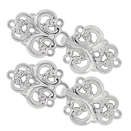 Bezelry 4 Pairs Swirl Flower Cape or Cloak Clasp Fasteners. 65mm x 28mm Fastened. Sew On Hooks and Eyes Cardigan Clip (Platinum)