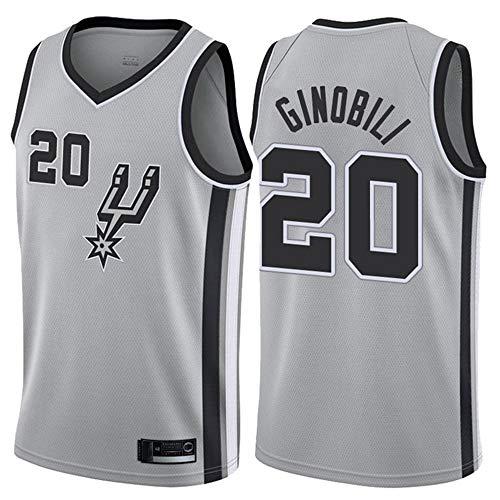 LITBIT Baloncesto de los Hombres NBA Jersey Vintage Spurs 20# Ginobili Transpirable Quick Secking sin Mangas Vestima Top para los Deportes,Gris,L