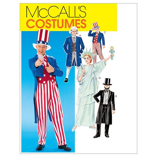 McCall's M6143 Adult, Boy, and Girl Uncle Sam, Statue of Liberty, Abe Lincoln, and George Washington Costume Sewing Patterns, Sizes 12-14
